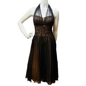 Betsy & Adam Copper and Black Lace Waist Rufflr Tulle Dress Size 10
